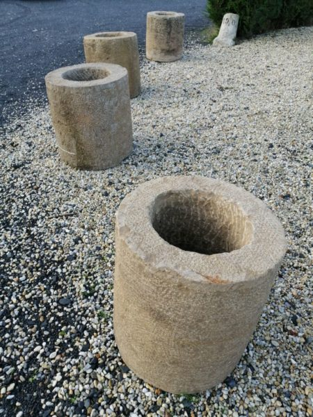 round limestone planter rustic finish