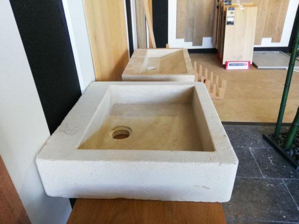 beige mera soft finish washbasin on the left