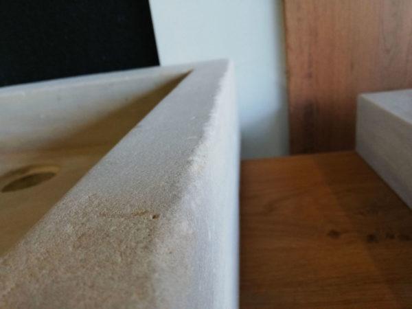 zomm on details of the beige mera soft finish washbasin