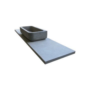 natural grey stone washbasin with his tray