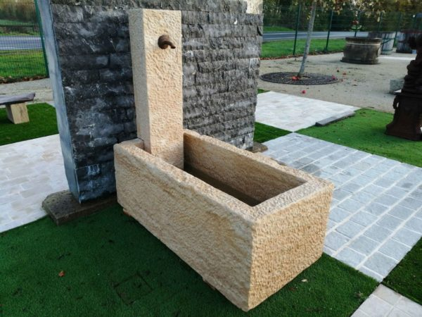 small new limestone fountain anthic patina by hand