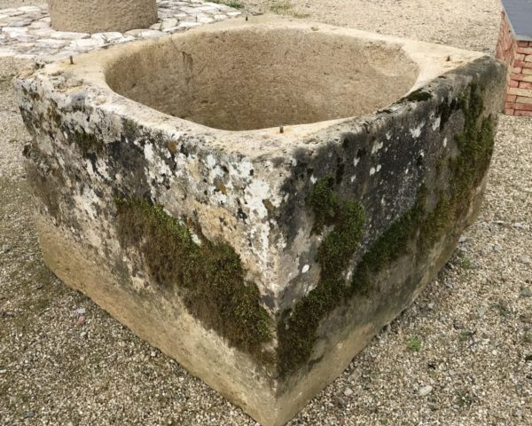square antique stone wellhead from France