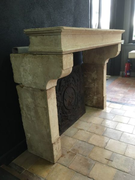 beautiful antique beige fireplace
