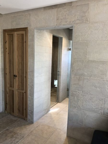 corridor with the mera beige wall cladding