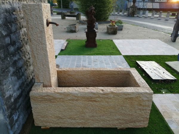 presentation of our small new limestone fountain