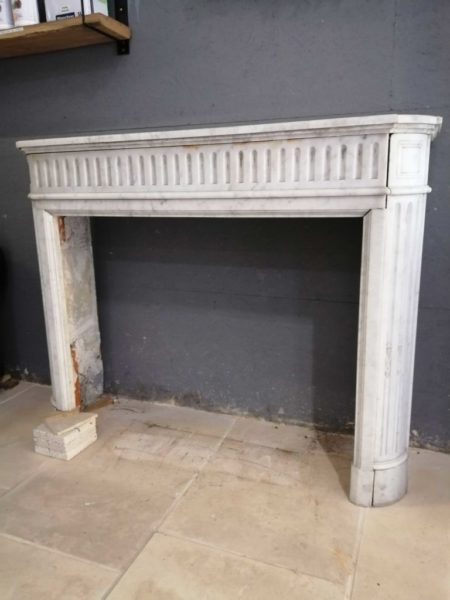 white marble antique mantel right side picture