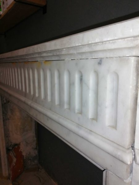 zoom on white marble mantels old and antique