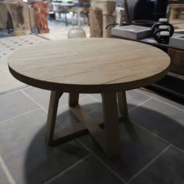 round table in a strong brushed finish