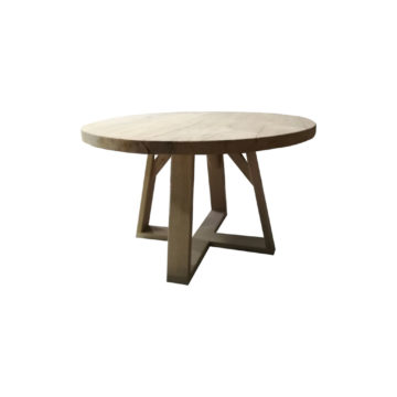 round table in strong brushed oak