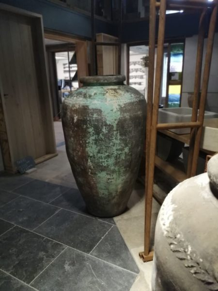 Blue color of the old jar