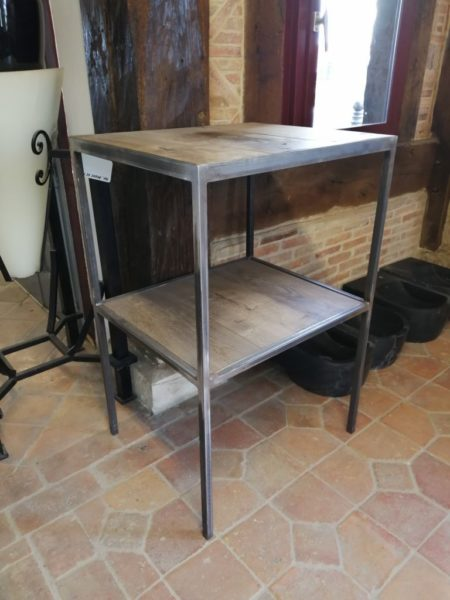 wood shelf with metal