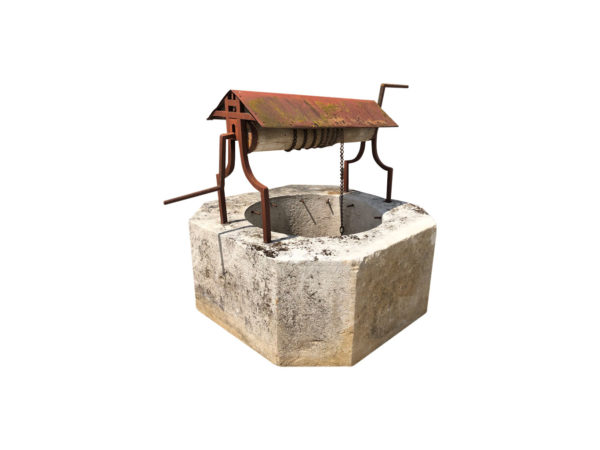 stone well head with wooden and metal pulley