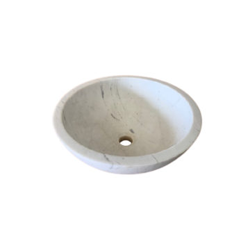 rounded white marble washbasin