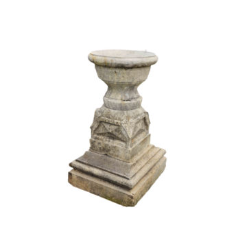 antique limestone pedestal with vase