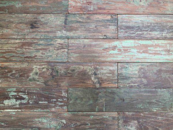 teak parquet with green wood