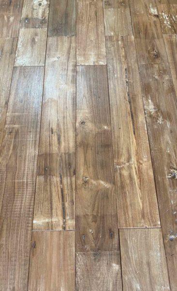 teak parquet with wood paint