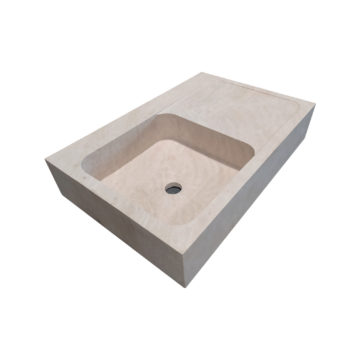 travertine sink with drainer