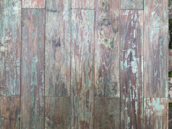 vintage teak parquet with green paint