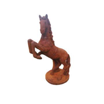 Cast iron statue of prancing horse