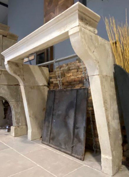 salvaged stone fireplace
