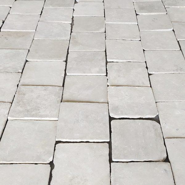 Antique reclaimed limestone floor