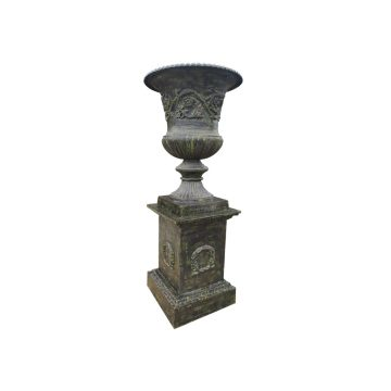 Cast iron pedestal and Medici vase