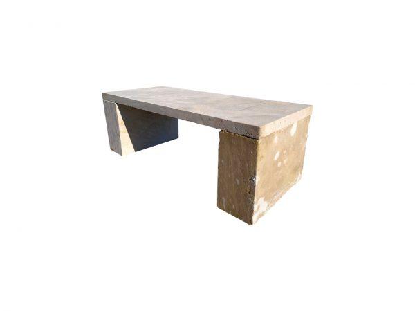 beige limestone bench