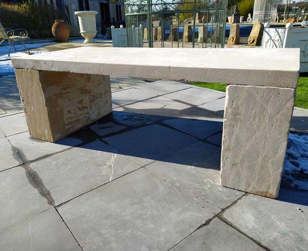 Beige limestone bench prieuré
