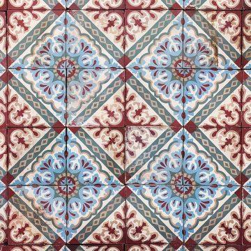 Floral pattern of cement tile set